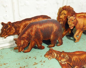 Vintage Paper Lions, Tigers and Bears; Lithograph Pairs of Animals