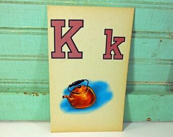 Vintage Large Picture Flashcard, Letter K, Kettle