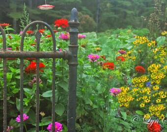 The Garden Gate -  Nature, landscape photography, spring, flowers, fine art, leaves, art, wedding, rustic, home decor, garden, new england
