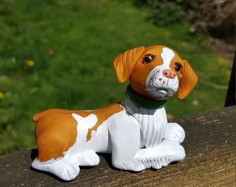 Polymer clay Brittany spaniel dog