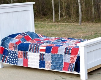 Americana Twin Quilt- Ready to ship quilt, Boy Twin Quilt, Boy Rag Quilt, Red Quilt, White Quilt, Blue Quilt, Patriotic Quilt
