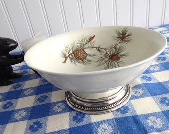 Rosenthal Pine Needles Mayonnaise Bowl Sterling Silver Base Pinecones Sauce 1960s
