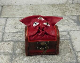 Valentine's Day Ring BoxTreasure Chest Desk Organizer Trinket Box Small Storage Stash Red Leather Harry Potter Labyrinth
