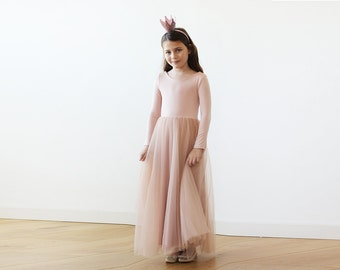 Flower girl blush-pink maxi tulle dress, Open back tulle dress for girls 5028
