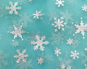 Snowflake Sheer Organza Aqua 60 Inch Fabric by the Yard - 1 yard