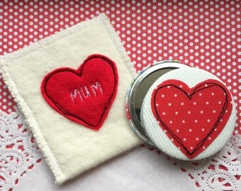 Pocket Mirror Fabric Covered with personalised Embroidered pouch