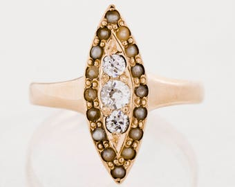 Antique Ring - Antique Victorian 14k Rose Gold Diamond & Seed Pearl Navette Ring