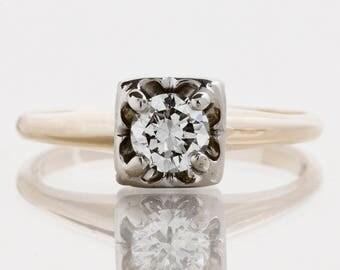 Vintage Engagement Ring - Vintage 1940's 14k Two-Tone Diamond Engagement Ring