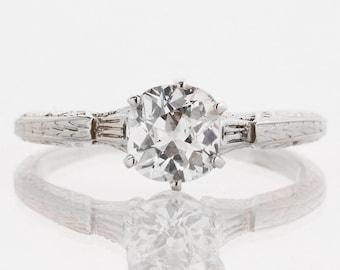 Antique Engagement Ring - Antique 14k White Gold Diamond Solitaire Engagement Ring