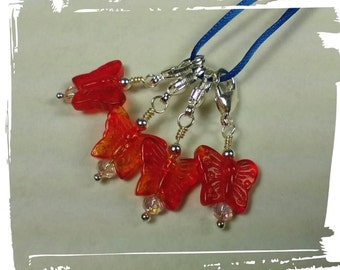 Glass Red Butterfly Stitch Marker Set of FOUR (4) for Knit or Crochet - Lobster Clasp