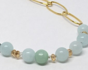 Asymmetrical Green Amazonite Gemstones and Gold Necklace Long