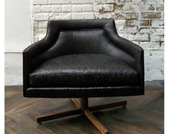 SALE: Gucci-Style  Embossed Leather Swivel Chair