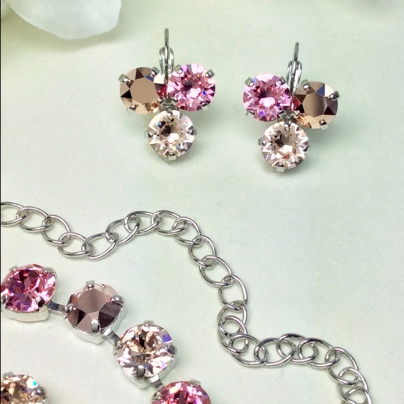 """Swarovski Crystal 8.5mm Earrings Three Stone - Lucky Clover Earrings  """"Rosy Horizons""""- Lt. Rose, Rose Gold, Champagne  - FREE SHIPPING"""