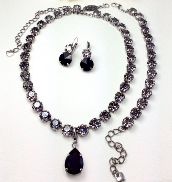Swarovski 8.5mm Black Patina Necklace & Bracelet - Designer Inspired - Sophisticated, Sexy and Classy - FREE SHIPPING
