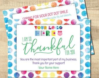 Dot Dot Thank You Care Cards, Dot Dot Care Cards, Dot Smile Marketing, Dot Smile Thank You, Personalized, Digital, Custom, bright