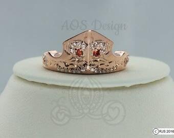 Aurora Sleeping Beauty Ring Rose Gold Tiara Princess Disney Crown 18kt Gold Plated Sterling Silver