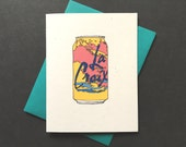 "Funny Valentine Card ""Love you like LaCroix"" hand drawing"