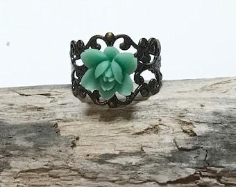 Resin Flower Ring Filigree Design Ring Teal Flower Ring Brass Filigree Ring Adjustable Ring Filigree Band Ring Adjustable Teal Ring