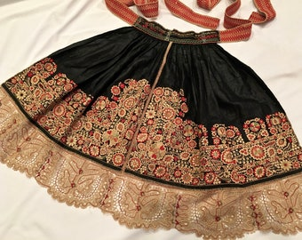 RESERVED for Heidi **Czech Hand-Embroidered Folk Apron, Moravian Kroj, dated 1899, hand made Czech Lace,  Bohemian Black with Tan,Red