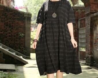 Black Linen Dress, Loose Fitting Linen Dress, Black Mama Dress, Black Dress, Oversized Dress, Prom Dress, Cocktail Dress, Linen Dress