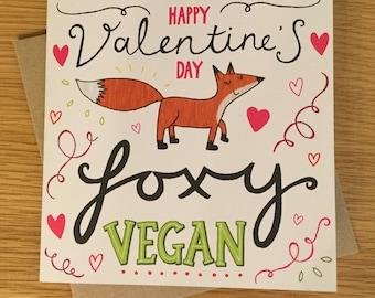 Happy Valentine's Day Foxy Vegan - Vegan Greetings Card - Eco friendly
