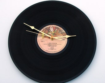"GENESIS Vinyl Record Clock made from Original recycled 12"" LP "" A Trick Of The Tail "", Mad Hatter, Chesire Cat, Alice in Wonderland label"