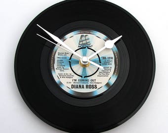 "Diana Ross Record CLOCK ""I'm Coming Out"" Fun gift for wedding celebration party disco men women LGBT gay interest black and blue drag queen"