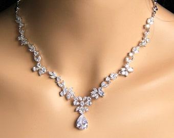 Bridal CZ jewelry, wedding jewelry, bridal jewelry, cz necklace, wedding necklace, wedding necklace, bridesmaid jewelry