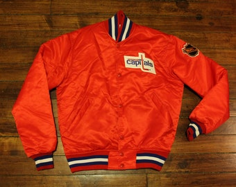 Washington Capitals satin starter jacket vintage 90s NHL hockey coat - Small