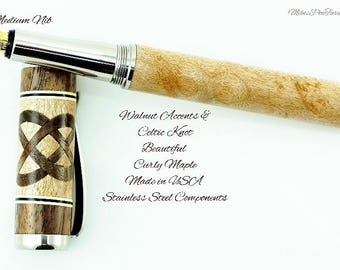 Custom Wooden Pen Fountain Beautiful Quilted Maple  Black Walnut Knot and Segments Cream and Black Rings Stainless Steel Components 723FPSSG