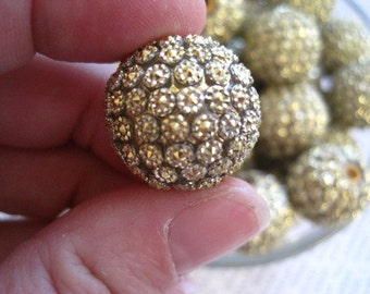 Gold Rhinestone Bead, 10 pcs, Quilted Rhinestone, 20mm Bumpy Chunky Necklace Bead, Disco Ball Bead, Gumball Beads, Bubblegum Bead