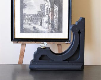 Vintage black wooden corbel, architectural wood salvage, charcoal corbel, minimalist decor