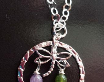 Dragonfly Birthstone Eternity Ring Necklace, Two Birthstones, Friendship Neckalce, Dragonfly Neckalce, Fair Trade, Vegan Friendly