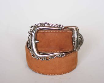vintage brighton belt with silver buckle women's size M