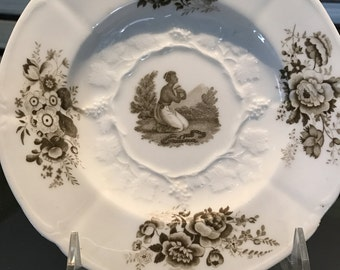Antique Plate/English Porcelain/Circa 1820/Anti Slavery Cabinet Display/Black History Month/Collectible/Decorative/Historical/