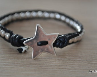 Leather Bracelet Black Star