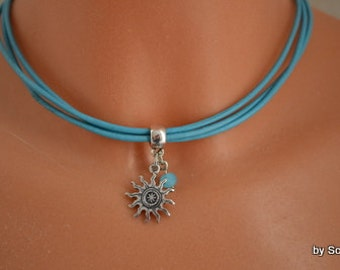 Leather chain Sun. Colors