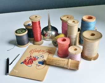 Sewing Room Decoration Vintage Spools and Needle Cases
