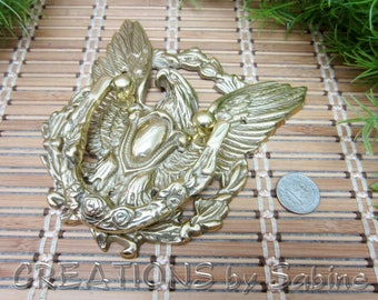 Brass Door Knocker Eagle Wings Olive Branch Vine Americana Gold Tone Metal Large Patriotic Home Decor Vintage FREE SHIPPING (621)