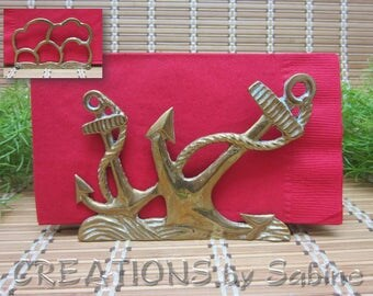 Brass Anchor Napkin Letter Holder Waves Clouds Horizon Boat Lover Captain Gift Harbor Nautical Beach Home Decor Vintage FREE SHIPPING (617)
