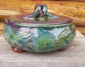 Pottery Casserole Dish, Dragonfly dish, Pottery Brie Baker, Ceramic Casserole, Lidded Dish, Ceramic Jewelry Box, MADE TO ORDER 4-6 Weeks