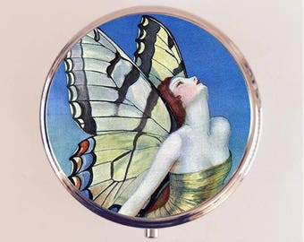 Flapper Butterfly Pill Box Case Pillbox Holder Stash Trinket Box Art Deco 1920s 20s Jazz Age