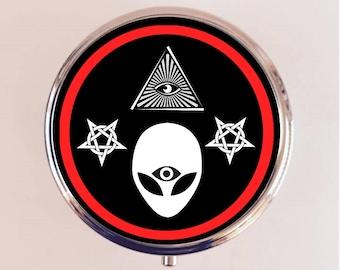Alien Illuminati Pill Box Case Pillbox Holder Stash Trinket Box All Seeing Eye Occult Third Eye Trippy Psychedelic