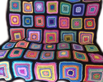 Crochet afghan kaleidoscope blanket rainbow blanket, art deco blanket, granny square groovy hippie funky READY TO SHIP