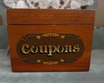 Vintage Wooden Box | Coupon Saving |  Kitchen Organizer | Early American Decor | Retro Farmhouse