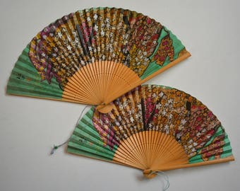 Japanese hand fans, pair,  bamboo and paper, vintage Japanese sensu, boxed