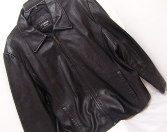Genuine Leather, Black Jacket, Zip Front, OakBrook, Plus Size,, 2x -22-24, Alaska Cruise Wear, Motorcycle Jacket, WHAT A BARGAIN