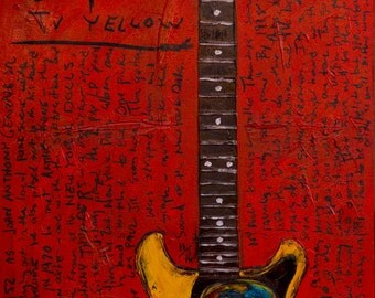 Vintage Guitar Art. Johnny Thunders New York Dolls Gibson LP Jr 11x17 electric guitar art print. Guitar Poster. Guitar Print.