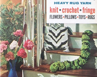 Vintage Make it with Aunt Lydia's Heavy Rug Yarn: Knit Crochet Fringe Flowers Pillows Toys Rugs Placemat Pattern PDF Download