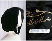 Vintage 1950s Black Velvet Hood - Victorian Inspired Winter Bonnet Hat for Coat or Cloak - Mr Martin Bonwit Teller